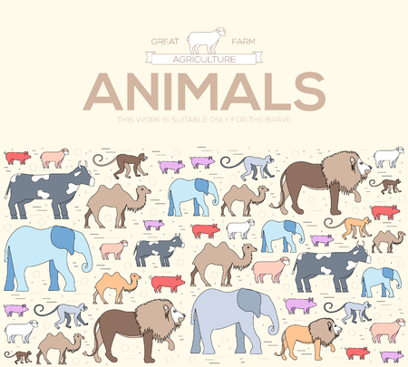Animal round concept of lion monkey camel elephant cow pig sheep. Vector wild life illustration background