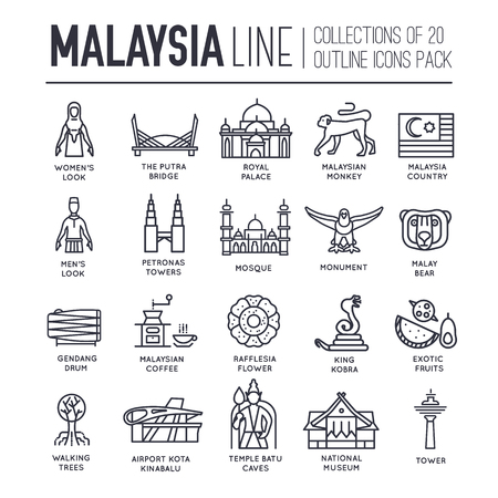Set of Malaysia travel icons. Ilustrace
