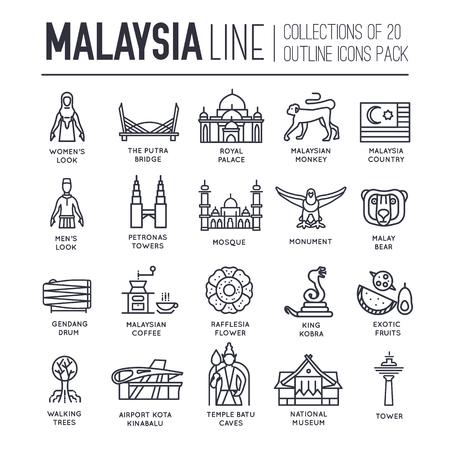 Set of Malaysia travel icons. Illustration