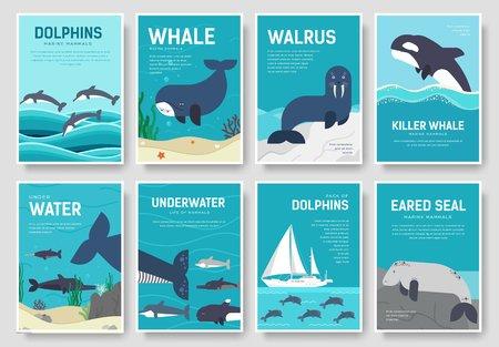 Set of sea mammals icon pattern.