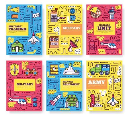 Thin line different rocket weapons brochure card set. Illustration