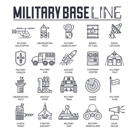 Military base line poster with a set of different rocket weapons and vehicles