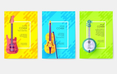 Music instruments vector cards set. Audio tools template of flyer, magazines, poster, book cover, ottoman motifs, element, banners. Concert invitation concept background. Layout illustration modern page background. Vector greeting card or invitation design background.