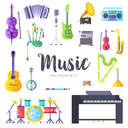 Music instruments vector brochure cards set with musical instrument and audio players