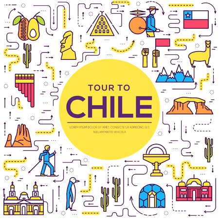 Country Chile thin line guide of goods, places and features. Set of outline architecture, fashion, people, items, nature background concept. Infographic template design for web