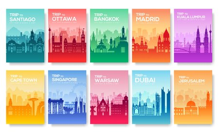 Travel information cards. Landscape template of flyear, magazines, posters, book cover, banners. Country of Chile, Canada, Thailand, Spain, Malaysia, Africa, Asia, Poland, UAE and Jerusalem