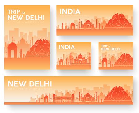 India landscape vector banners set. Vector design illustration Vektorové ilustrace