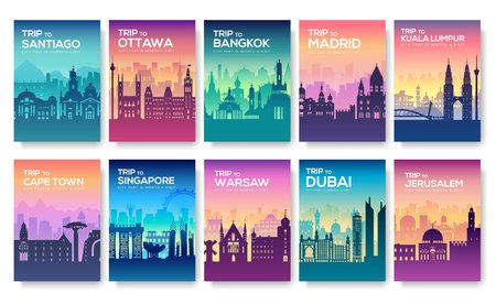Brochures with cities. Set of brochure promoting trip to the cities with silhouettes.