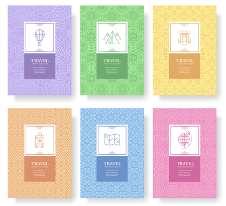Insieme del concetto di stile di viaggio lineare. Elemento di viaggio su poster, libro, layout astratto.