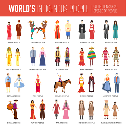 People Friendship International Day of the World Indigenous Peoples. Vector flat circle concept illustration concept Illustration