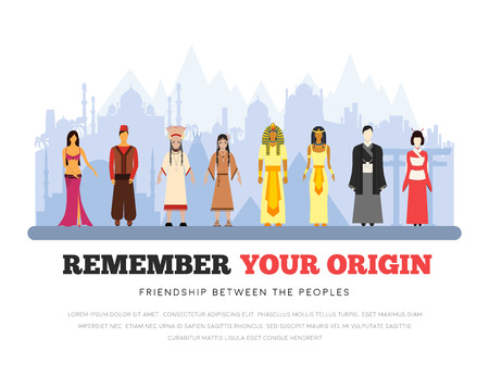 People Friendship International Day of the World Indigenous Peoples. Vector flat illustration concept background