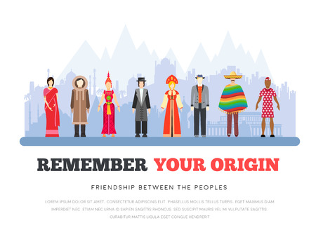 People Friendship International Day of the World Indigenous Peoples. Vector flat illustration concept