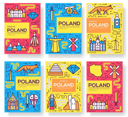 Poland vector brochure cards thin line set. Country travel template of flyer, magazines, posters, book cover, banners. Layout culture outline illustrations modern