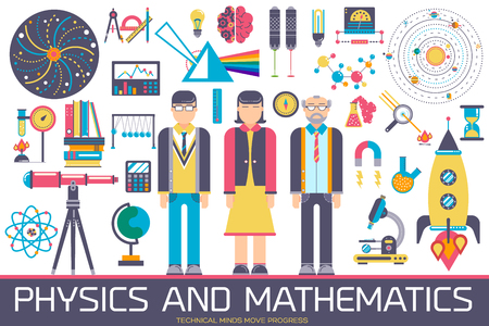 Technical minds collection of icon set. Vector flat physics and mathematics equipment and workshop items concept Standard-Bild - 99145535