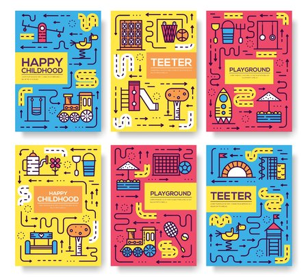 Set of thin line kids pattern concept. Art playground field, magazine, book, poster, abstract, banners, element. Vector fun outdoor park outline package greeting card or invitation brochure design