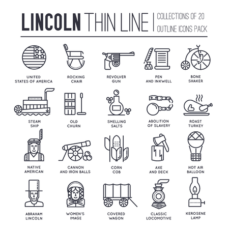 President Abraham Lincoln day with historical XIX (19) century elements thin line icon set. Vector people and traditional of USA object outline cover concept design. National culture  Illustration
