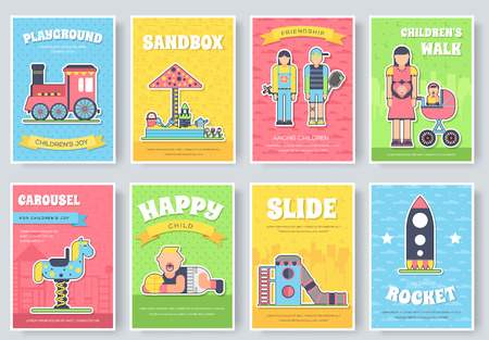 Kids playground field brochure cards set. staff equipment template of flyer, magazine, poster, book cover, booklet, banners. Outdoor park invitation concept. Layout illustrations modern