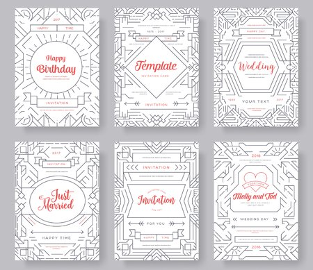 Thin line art set. Outline template of flyear, magazines, posters, book cover, banners. Hipster Decorative retro greeting card or invitation design. Layout illustrations modern pages with typography