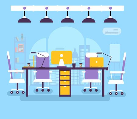 coworking office workplace for people vector illustration. Creative studio business environment elements background. Flat design with typography