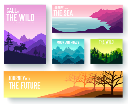 Nature vector brochure cards set. Ecology template of flyer, magazines, poster, book cover, banners. Outdoor invitation concept background. Layout illustration modern page