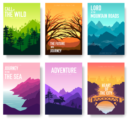 Nature vector brochure cards set. Ecology template of flyear, magazines, poster, book cover, banners. Outdoor invitation concept background. Layout illustration modern page background.