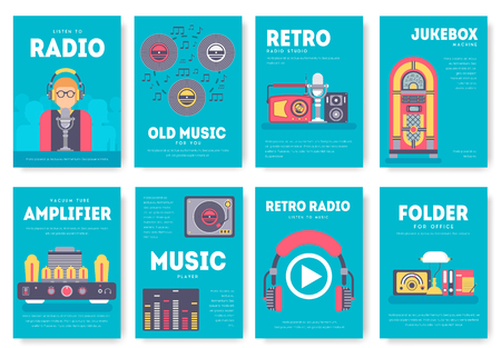 Radio life day brochure cards set. Old school tv equpment template of flyear, magazine, poster, book cover, booklet, banners. workspace in office invitation concept background. Layout  modern