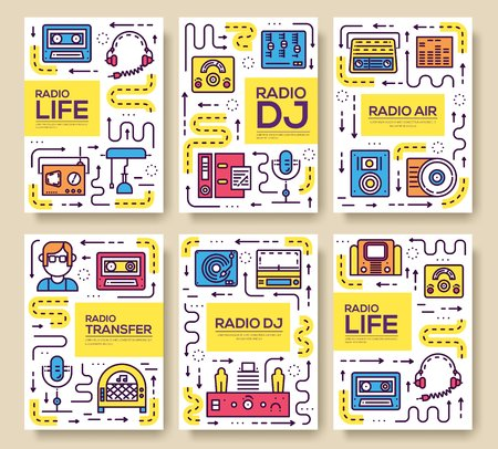 Set of thin line radio life day concept. Art old school TV equipment, magazine, book, poster, abstract, banner, element. Vector workspace in office outline package greeting card or invitation