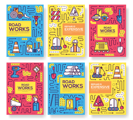 People at road works vector outline concept. Vectores