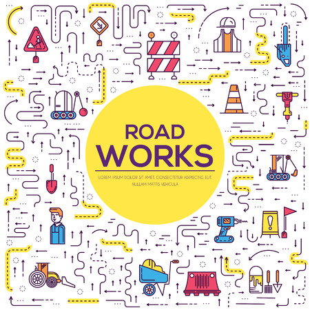 People at road works vector outline concept with construction equipment icons. Vectores