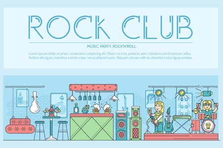 Thin line musicians playing and performing on stage during the party in rock club and bar concept. Flat outline  vector illustration concept design Ilustração