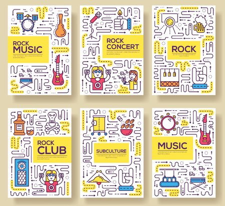 Thin line musicians playing  brochure card set. during the party  template of flyear, magazines, poster, book cover, banners. Outline rock club and bar invitation concept