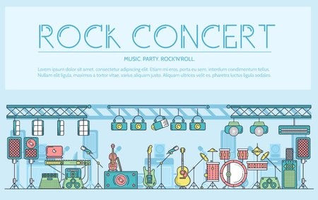 Thin line stage with different music instrunents and equipment for plating rocknroll concept.  Vector flat outline festival on rock concert design illustration. Illustration