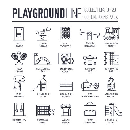 Kids thin line playground field with many staff equipment background icons set. Outline vector flat fun outdoor park illustration concept Ilustracja