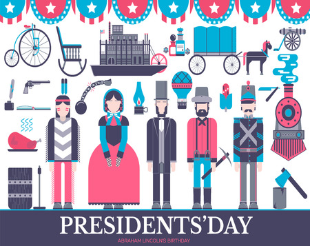 President Abraham Lincoln day with historical XIX 19 century elements flat icon set. Vector people and traditional of USA object illustrations cover concept design. National culture