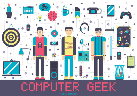 Vector it geeks people icons illustrations set. Flat office professional developer around workplace echnology concept. 矢量图像