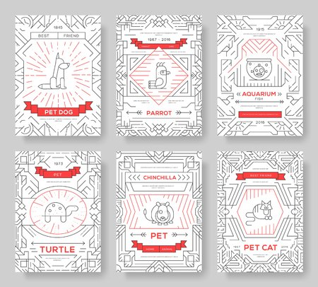Animal vector brochure cards thin line set. Cute home pets template of flyear, magazines, posters, book cover, banners. Layout domestic wildlife  outline illustrations modern pages.