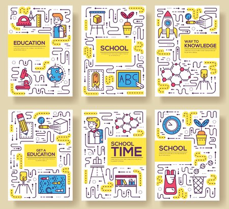 Thin line school class brochure card set.  Pupils in classroom of flyear, magazines, poster, book cover, banner. Outline equipment invitation concept