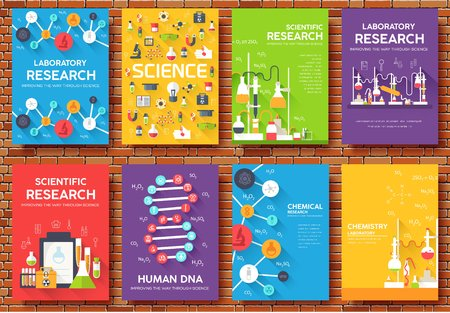Science information cards set. Laboratory template of flyer, magazines, posters, book cover, banners. Chemistry infographic concept background layout illustrations template pages with typography.
