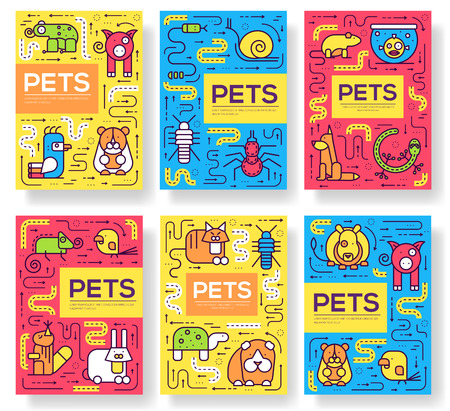 Animal vector brochure cards thin line set. Cute home pets template of flyer, magazines, posters, book cover, banners. Layout domestic wildlife outline illustrations modern pages. Stock Illustratie