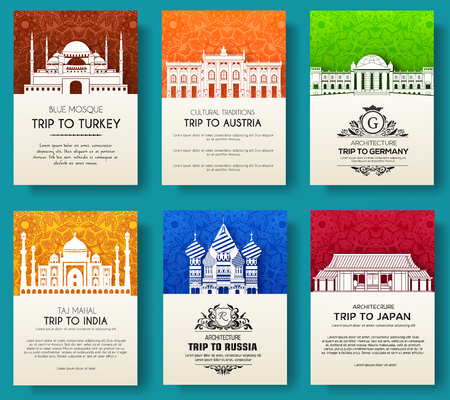 Set of art ornamental travel and architecture on ethnic floral flyers vector decorative banner of card or invitation design. Historical monuments of Turkey, Austria, Germany, India, Japan, Russia.