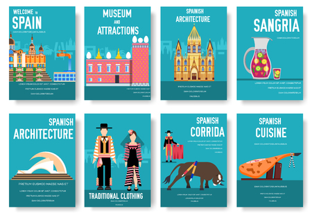 Spain vector brochure cards set. Country template of flyear, magazines, posters, book cover, banners. Travel invitation concept  background. Layout architecture illustrations modern