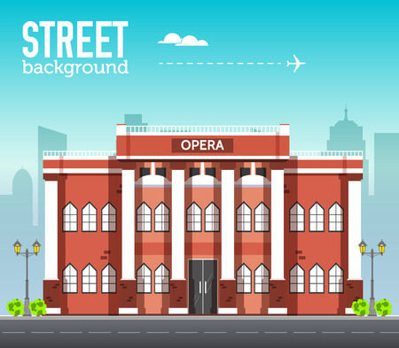 Opera building in city space with road on flat syle background concept. Vector illustration design 向量圖像