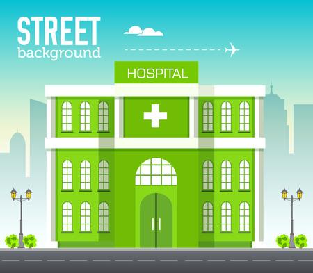 Het ziekenhuisbouw in stadsruimte met weg op vlak syleconcept als achtergrond. Vector illustratie