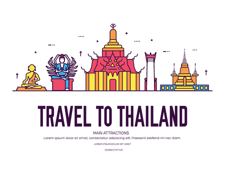 Country Thailand travel vacation of place and feature. Set of architecture, item, nature background concept. Infographic traditional ethnic flat, outline, thin line