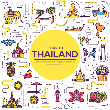 Country thailand travel vacation guide of goods, place and feature. Set of architecture, fashion, people, item, nature background concept. Infographic traditional ethnic flat, outline, thin line