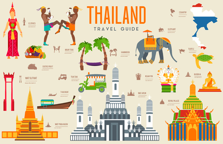 Country thailand travel vacation guide of goods, places and features. Set of architecture, fashion, people, items, nature background concept. Infographic traditional ethnic flat icon template