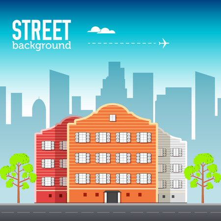 Flat buildings set. Icons background concept design. Colorful vector sity