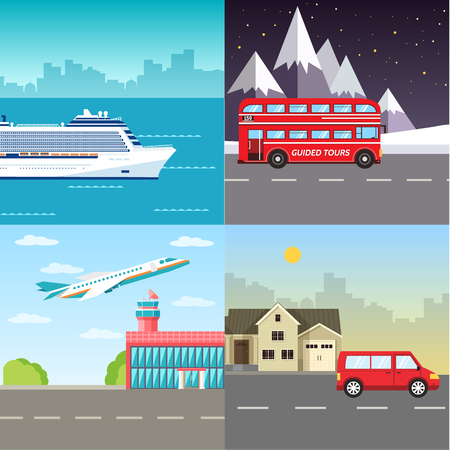 Variations transport of travel vacation tour infographic. Cruise, bus, flying on plane, car journey trip background. Flat vector illustration concepts Ilustração