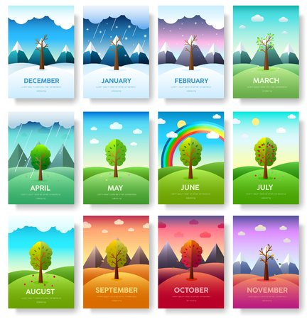 12 Months of the Year. Weather year information set. Seasons banners. Infographic concept background. Layout illustrations template pages with typography
