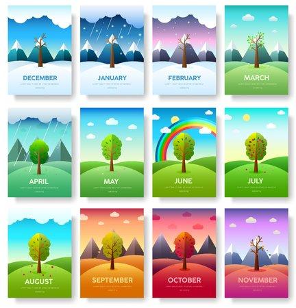 12 mois de l'année. Ensemble d'informations sur l'année météo. Bannières de saisons. Fond de concept infographique. Pages de modèle d'illustrations de mise en page avec typographie
